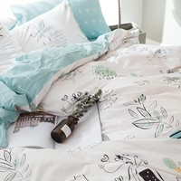 Blue Flower Printing 100% Cotton Bedding Sets Home Use Bed Sheet Duvet Cover 2 Pillowcase Queen King Size Bedding Set
