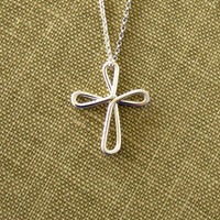 Sterling Silver Cross Necklace Continuous Love Religious Jewelry Baptism First Communion Gift