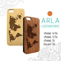 World Map Wood iPhone 6 Case , Natural Wood Phone 6 Plus Case, Map iPhone 5 Case, World iPhone 5c Case, Wooden iphone 4 Case