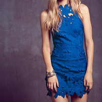 Blue Lace Asymmetrical Cutout-Back Bodycon Dress