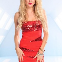 Red Strapless Sweetheart Dress with Sequin Embellishment