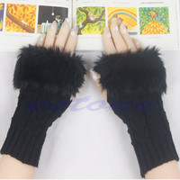 Women Winter Knitted Fingerless Faux Rabbit Fur Wrist Hand Warmer Gloves Mitten