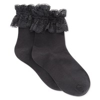 Black Vintage Style Ruffle Lace Trim Socks