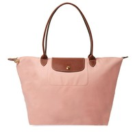 NEW LONGCHAMP Le Pliage Large Nylon Shoulder Tote Light Pinky Ros  AUTHENTIC