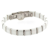 Edforce Stainless Steel and White Square Ceramic Unisex Bracelet with Clasp Lock