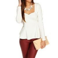 Ivory Fitted Peplum Top
