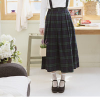Suspender Plaid Long Skirt