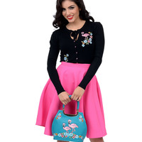 Black Flamingo & Floral Embroidered Long Sleeve Button Up Cardigan