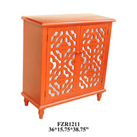 Crestview Tangerine Orange 2 Door Mirrored Cabinet - CVFZR1211