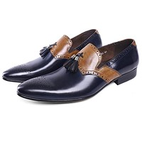 Genuine Leather With Tassel Pointed Toe Formal Shoes