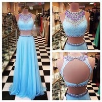 2017 Sexy Two Pieces Evening Dress Lace Pageant Party Formal Prom Celebrity Gown