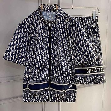Dior full printed presbyopia letters zipper short-sleeved T-shirt shorts two-piece set