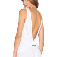 Feather Weight Rib Open Back Tank in White