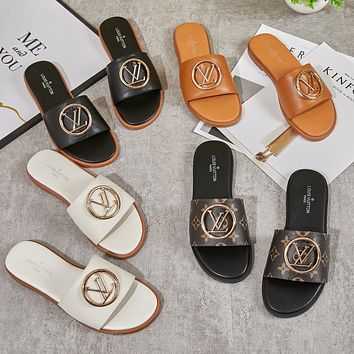 Louis Vuitton LV New Products Hot Sale Women Casual Gold Buckle Slippers