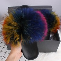 Raccoon Fur Flip Flops, Slippers, Beach Sandals in Assorted Colors FREE SHIPPING