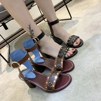【Louis Vuitton】LV  Rough heel + flat-soled open-toed sandals