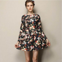 Black Floral Print Long-Sleeve Pleated Dress