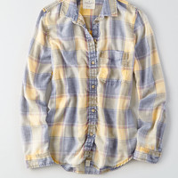 AEO Washed Plaid Boyfriend Shirt, Yellow