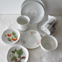 Vintage Assortment of 1950s Mismatched BAVARIAN FINE CHINA/9 Piece Assorted Small Bavarian China Dishes/Made in West Germany