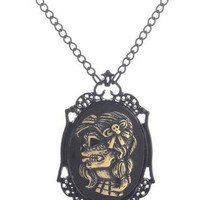 Skull lady`s head black steampunk gothic pendant necklace jewelry
