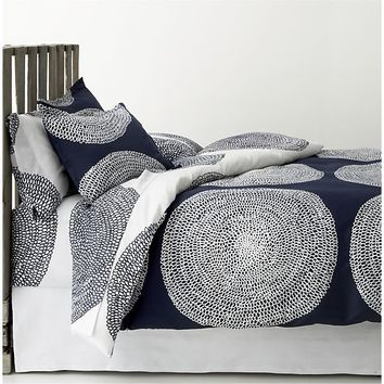 Marimekko Pippurikera Navy Bed Linens in All Decorative Bedding | Crate and Barrel