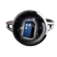 Dr Who Inspired Tardis Ring - Stars - Public Police Box Jewelry - Geeky Whovian