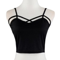 mokingtop Summer Tops Goth Women V-Neck Casual Tank Tops Hollow Out Cropped Top Quality Chalecos Top Acolchoada#99