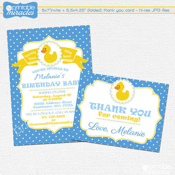 Rubber duck birthday invitation + thank you card / Blue, yellow printable duckling party invite card