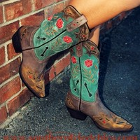 Wild Flower Leather Boot
