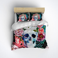 Fleece Watercolor Skull Bedding -  Sugar Skull Print Comforter Cover - Sugar Skull Duvet Cover, Sugar Skull Bedding Set