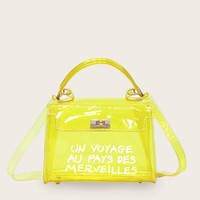 Clear Yellow Pvc A Trip To Wonderland Slogan Print Flap Satchel Bag