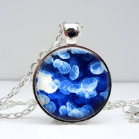 Jelly Fish Necklace : Blue & White
