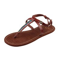 MP Women's Brown Embroidery Flat Sandals 052913 F0611