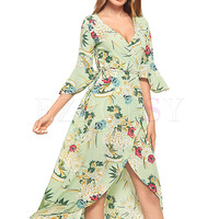 Beach Floral Print V-neck Flare Sleeve Asymmetric Hem Holiday Maxi Dress