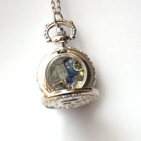"""Doctor Who Tiny Pocket Watch Necklace """"Bad Wolf"""""""