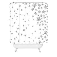 Lisa Argyropoulos Starry Magic Silvery White Shower Curtain