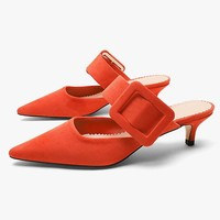 Fashionable new buckle high heel heel sandals with pointed toes and narrow slats