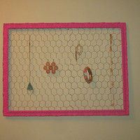 Vintage Antique Hot Pink Picture Frame Jewelry Hanger Organizer Decoration One of a Kind