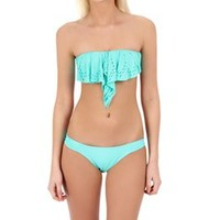 L-Space Women's Flutter Bye Hunter Rose Bandeau Top at SwimOutlet.com - Free Shipping