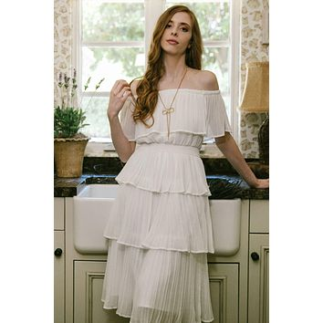 Athena Pleated Off The Shoulder Dress