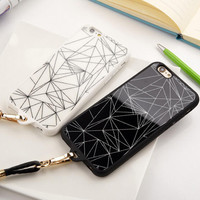Cool Geometry iPhone 5s 6 6s Plus creative case Cover + Leather Rope