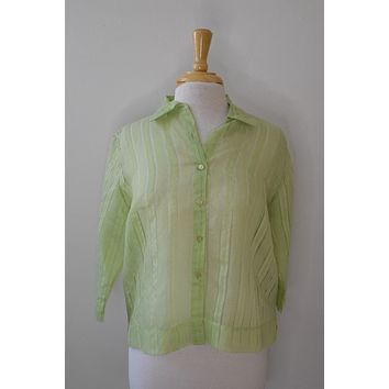 Vintage Green Striped Sheer Crop Button Down