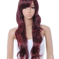 Cool2day® Fashion Style Long Wavy Hair Women's Party Full Wig (Model: Jf010331) (Wine Red)