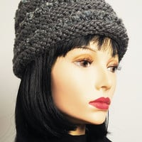 Charcoal gray toque / Gray knitted cloche / Grey crochet pillbox / Womans winter hat