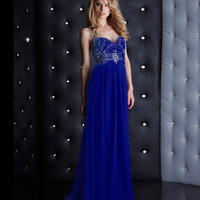 Jasz Couture Royal Blue Low Back Beaded Halter Dress Prom 2015