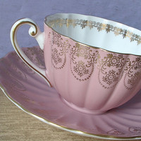 Antique pink tea cup set, vintage Shelley bone china tea cup and saucer, pink and gold English tea set, wedding gift