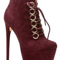 Burgundy Faux Suede Lace Up Platform Booties