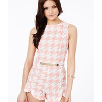 Missguided - Zuzka Dogtooth Tailored Belted Playsuit