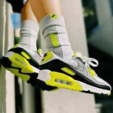 Image of Nike Air Max 90 Popular Women Men Casual Running Sport Sneakers Shoes Grey&Fluorescent Green