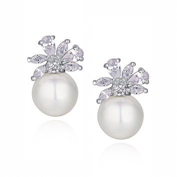 Shell Pearl W. Teardrop and Marquise Cubic Zirconia Stud Earrings